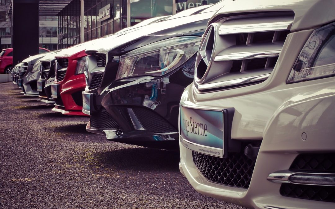 commercial fleet of cars lined up
